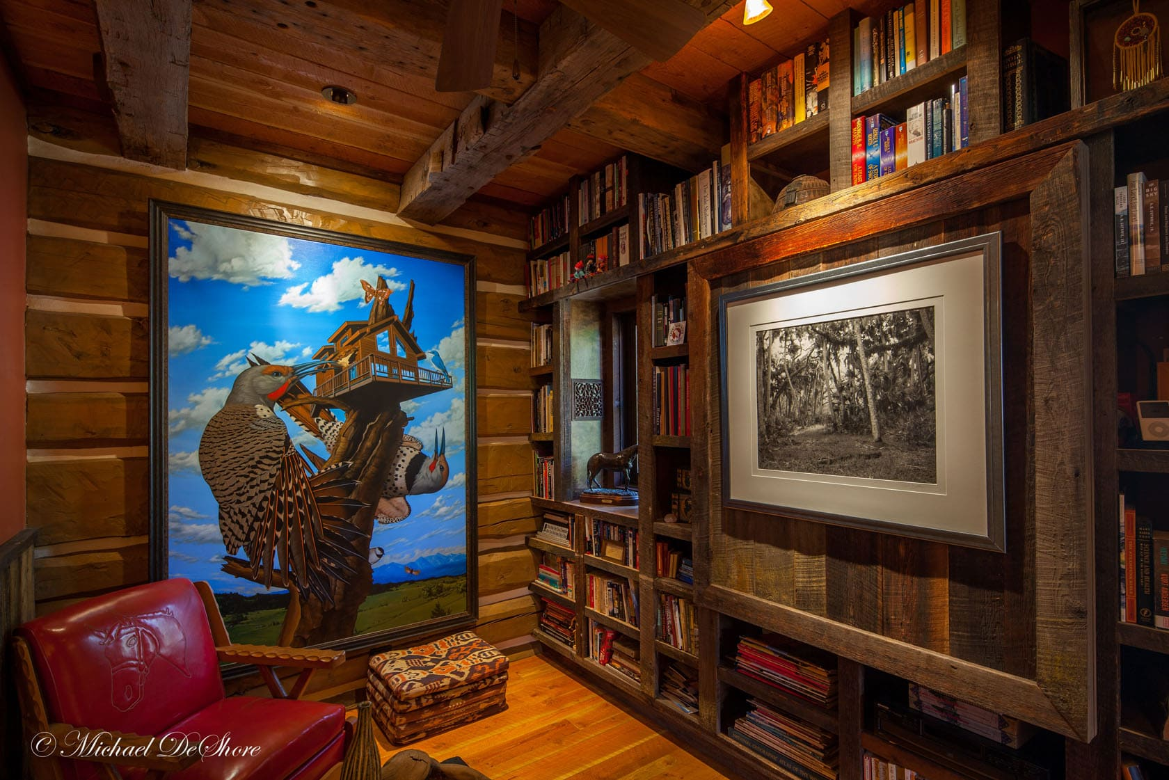 Library Leaping Horse Farm MT Property for Sale