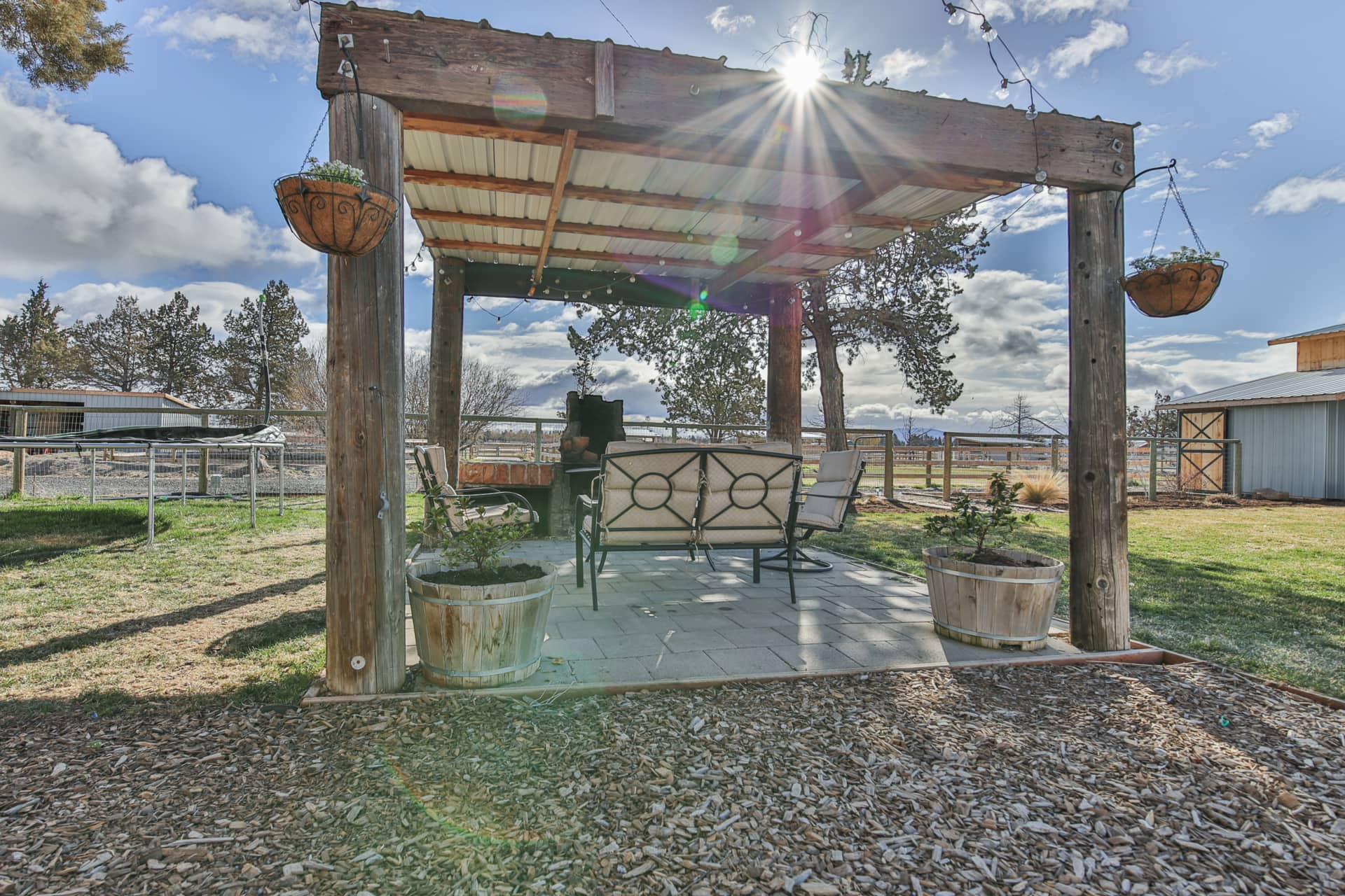 outdoor living space with fire pit oregon greener pastures