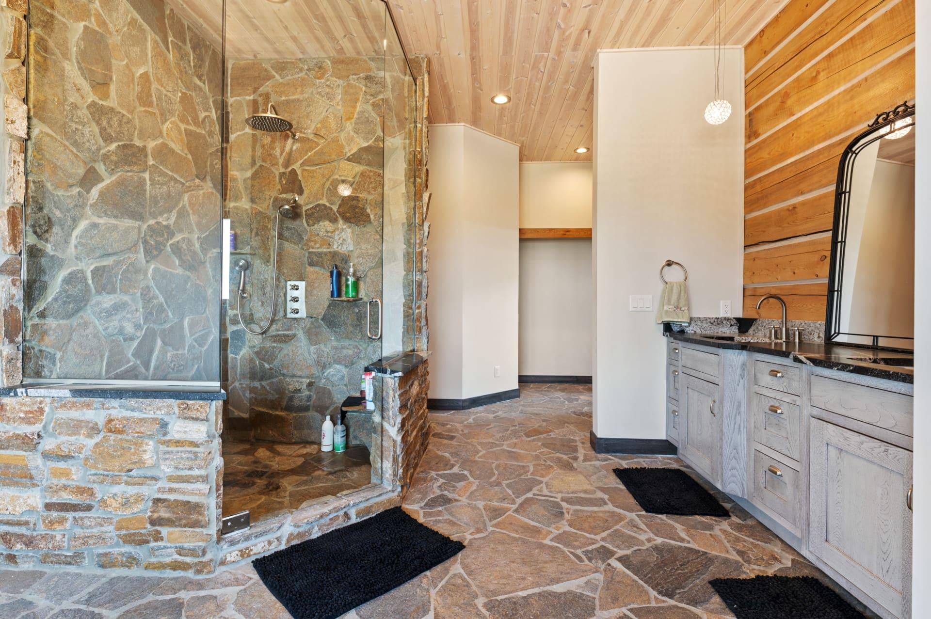 main bath natural stone shower wyoming high divide ranch on kara creek